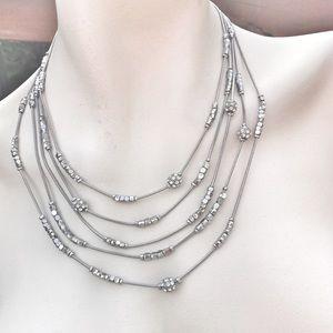 Silver Tone Muti-Strand Crystal Necklace